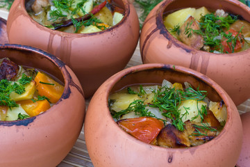 Meat baked with vegetables in rustic clay pot
