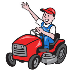 Poster Ranch Farmer Driving Ride On Mower Tractor