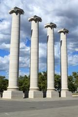 Carved columns in Barcelona, Spain