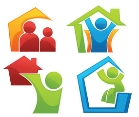 vector concept of happy loving home