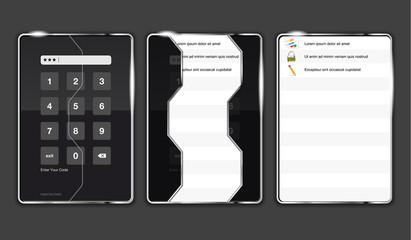 Graphical interface electronic keychains in three positions