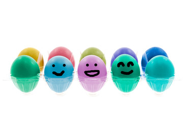 Colorful Easter eggs with different smile on their faces