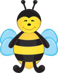 Cute cartoon bee. Vector illustration