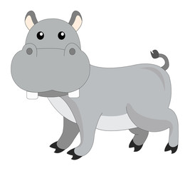 Cute grey hippopotamus, illustration