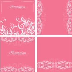 Set of invitation floral cards