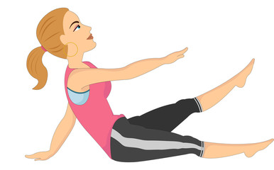Exercising, woman doing stretching, illustration