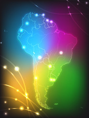 Landkarte von Südamerika mit Hauptstädten