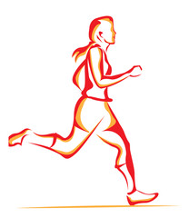 Woman running, illustration
