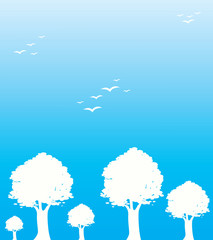 Trees and birds in blue background, illustration