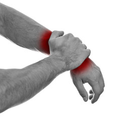 Wall Murals Red, black, white Close up view of male hands with wrist pain. Isolated