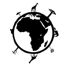 Globe continent africain et animaux en silhouette