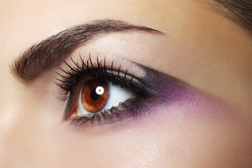 Purple Eye Makeup. Beautiful eye makeup close up