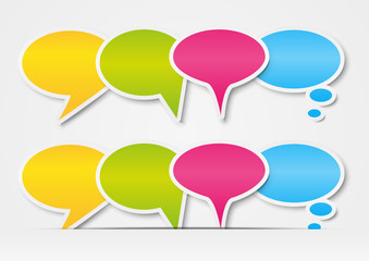 Paper speech bubbles border