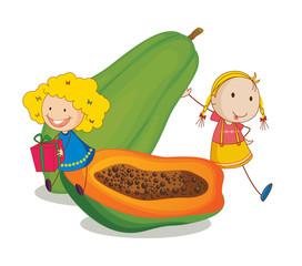 girls and papaya