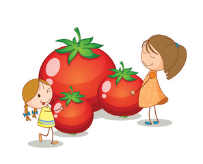 girls and tomatoes