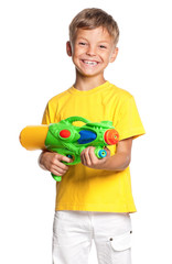 Boy with water gun