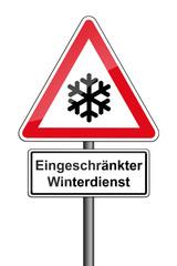 Warnschild RAL 3001 signalrot - Eingeschränkter Winterdienst