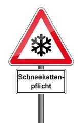 Warnschild RAL 3001 signalrot freigestellt - Schneekettenpflicht