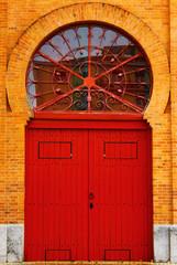 Poster Cuban Red Detail of an old door at Lisbon's Bullfighting Arena