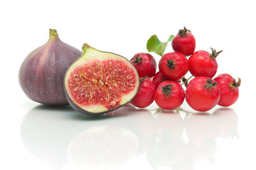 figs and apples on white background