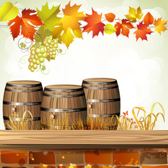 Wood barrel for wine with autumn leaves and grapes