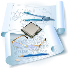 Engineering background with a circuit board