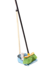 green broom and blue dustpan
