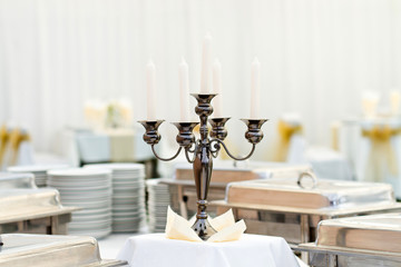 candelabra on the wedding or event party table