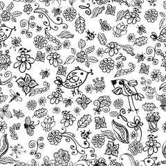 doodle seamless background with birds and flowers
