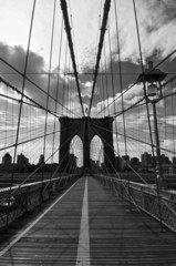 Pont de Brooklyn noir et blanc - New-York