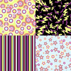 Wall Mural - Vector kawaii patterns of Halloween related objects.