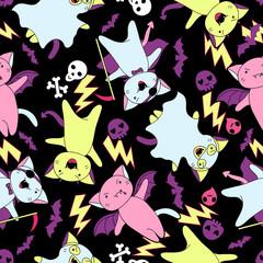 Wall Mural - Vector kawaii pattern of Halloween cats and creatures.