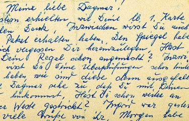 Fragment of an old handwritten letter, written in German. Can be