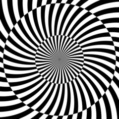 Photo sur Aluminium Psychedelique Black and white hypnotic background. vector illustration