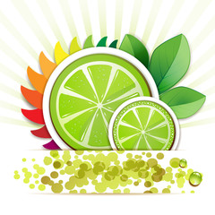 Slice of lime with leafs