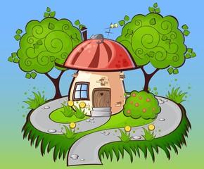 Keuken foto achterwand Magische wereld background cartoon house