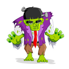 vector illustration of Frankenstein monster against white