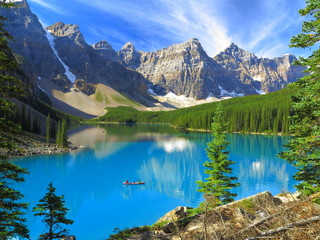 Aluminium Prints Canada Vivid hues of Lake Moraine at Banff National Park, Canada