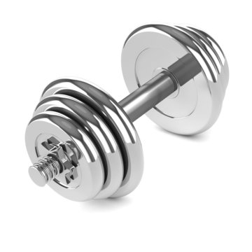 3d Chrome dumbell weights angled