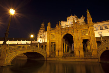 Wall Mural - Plaza Espana at night