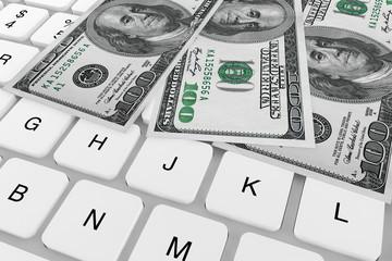 Dollars banknotes and Computer keyboard