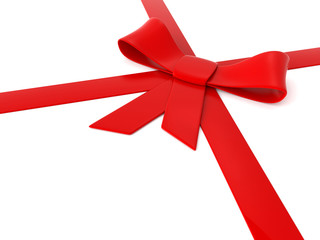 3d red ribbons and bow