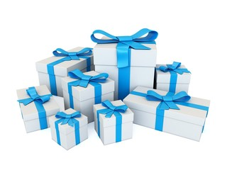set of 3d white gifts with blue ribbon