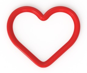 3d red heart shaped frame ready for your photos, graphics, logos