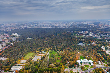 Ostankino Palace and Moscow cityscape in autumn afternoon