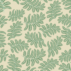 Leaves seamless pattern on light yellow background