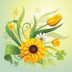 yellow flowers and leaves botanical nature illustration