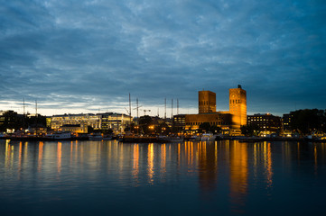 Oslo Harbour with the City hall in twilight