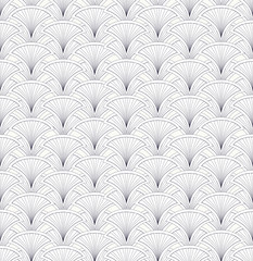 fan outline seamless pattern, floral retro motif