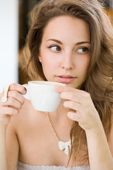 Hot coffee brunette lady.